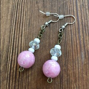 Ladies Pink River Stone Dangle Earrings/5 For $25